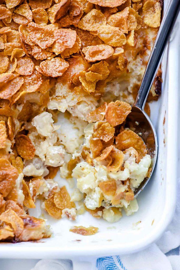 Heavenly Funeral Potatoes | foodiecrush.com #cheese #potatoes #augratin #recipes