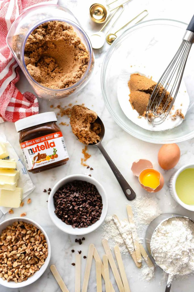Nutella Chocolate Chip Cookie Pop ingredients foodiecrush.com