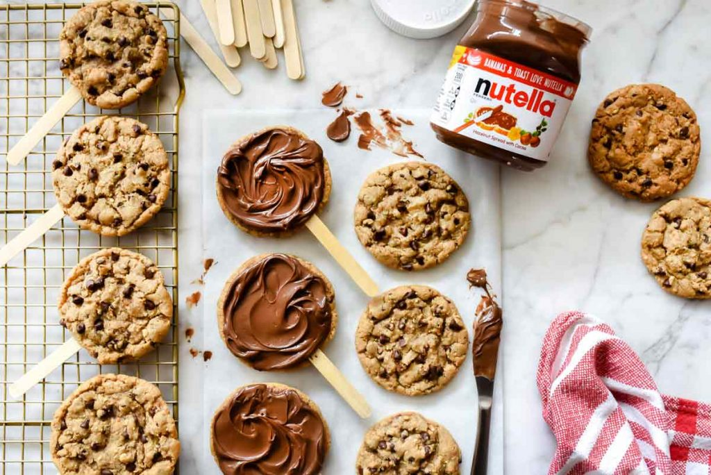 Nutella Chocolate Chip Cookie Pops   foodiecrush.com #cookies #chocolate #chip #nutella #recipes