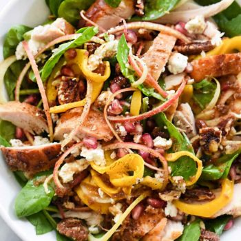 Spinach Salad with Turkey and Spiralized Apples and Butternut Squash | foodiecrush.com #spinach #salad #turkey #recipes #dinner