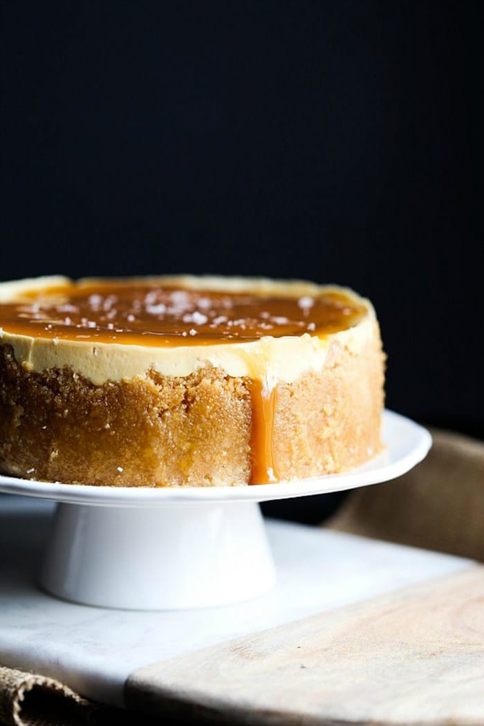 Instant Pot Salted Caramel Cheesecake from cookiesandcups.com on foodiecrush.com