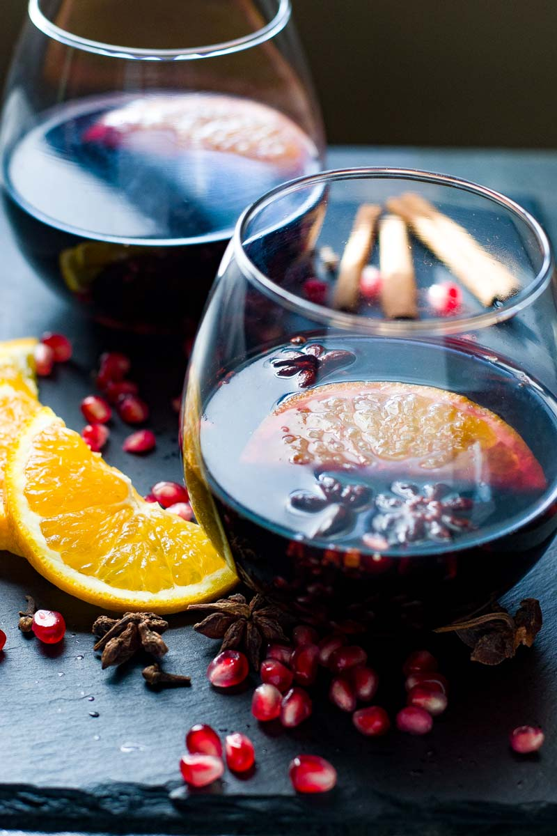Slow Cooker Spiced Mulled Wine with Pomegranate from wanderspice.com on foodiecrush.com
