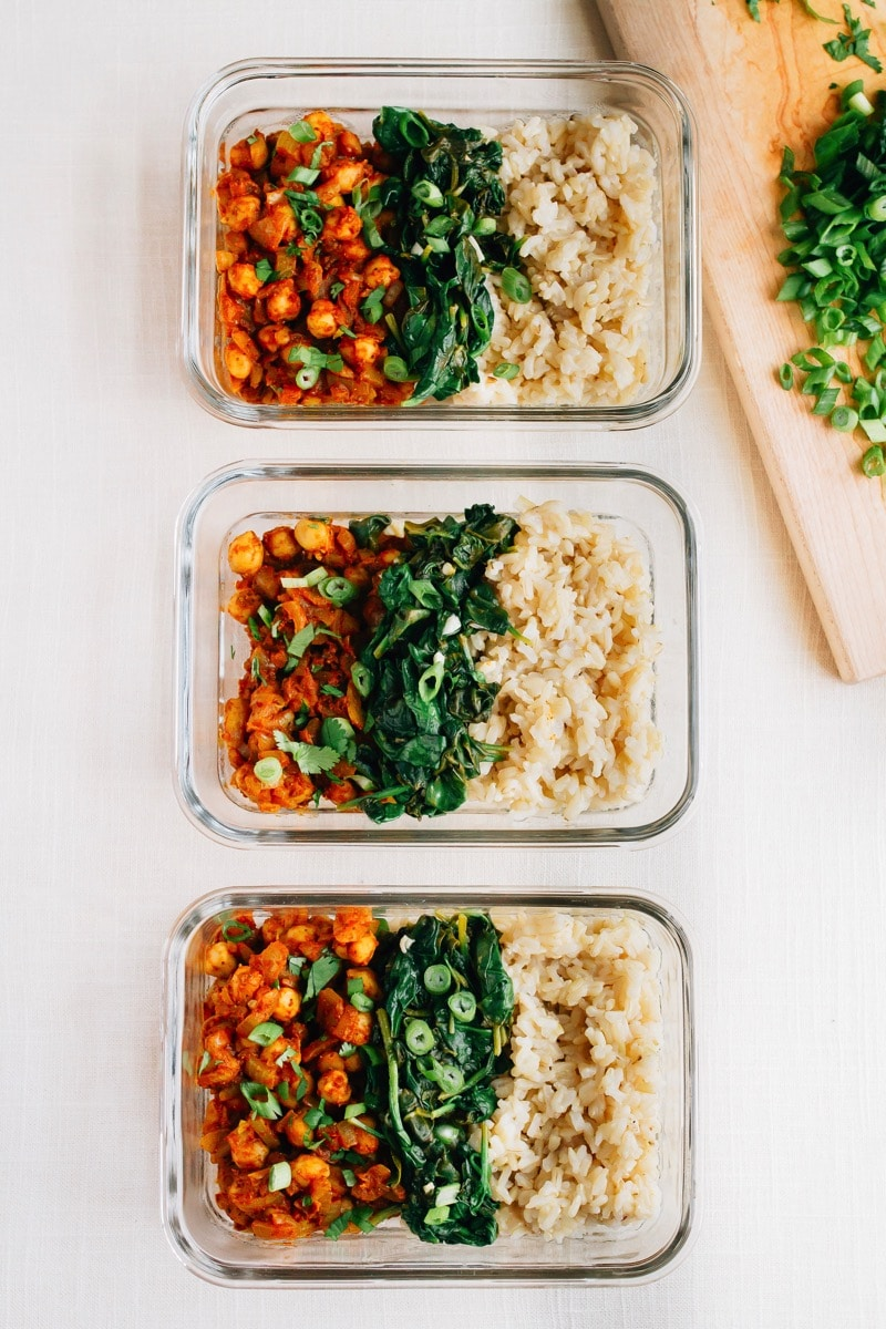 Curried Chickpea Bowls with Garlicky Spinach from eatingbirdfood.com on foodiecrush.com