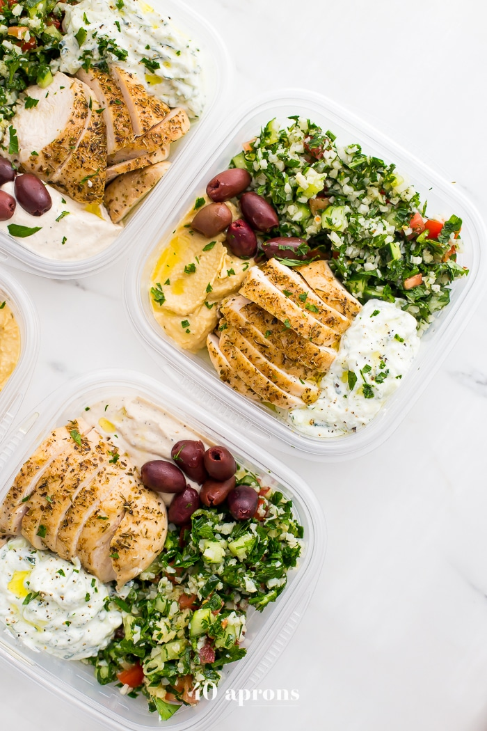 Greek Healthy Meal Prep from 40aprons.com on foodiecrush.com