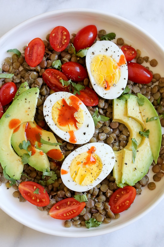 Lentil Bowls with Avocado, Eggs and Cholula from skinnytaste.com on foodiecrush.com