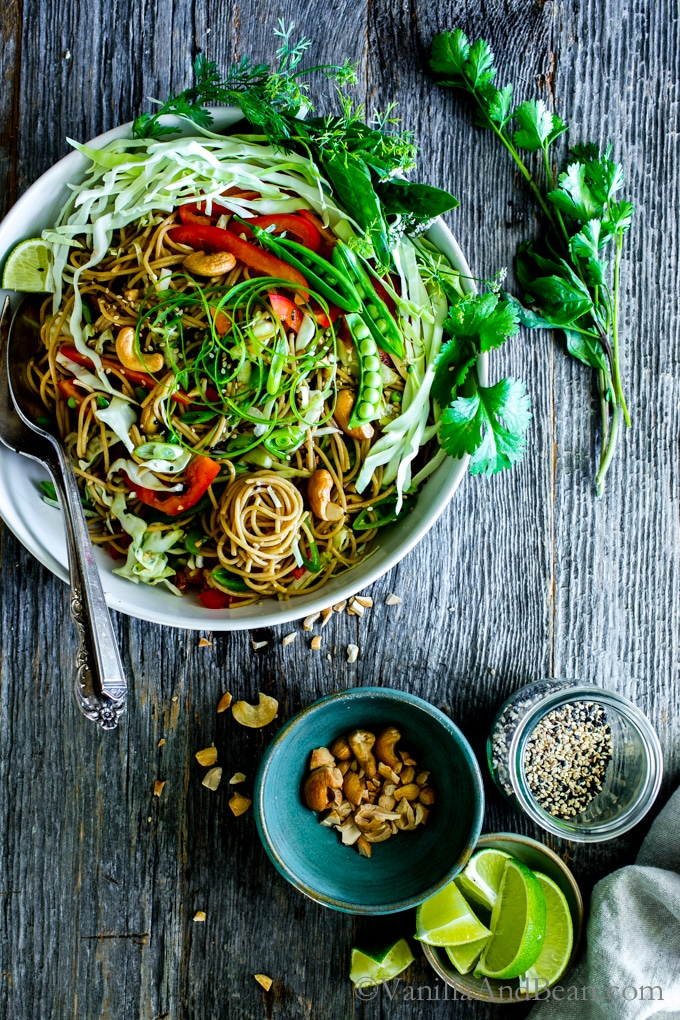 Sesame-Ginger Noodle Salad with Cashews from vanillaandbean.com on foodiecrush.com