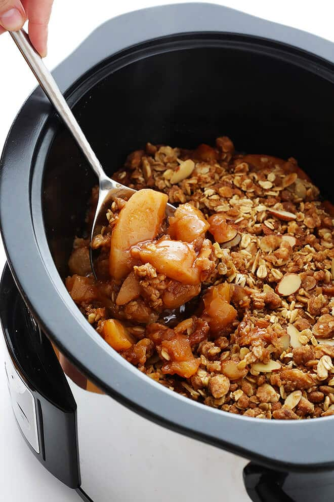 Slow Cooker Apple Crisp from gimmesomeoven.com on foodiecrush.com