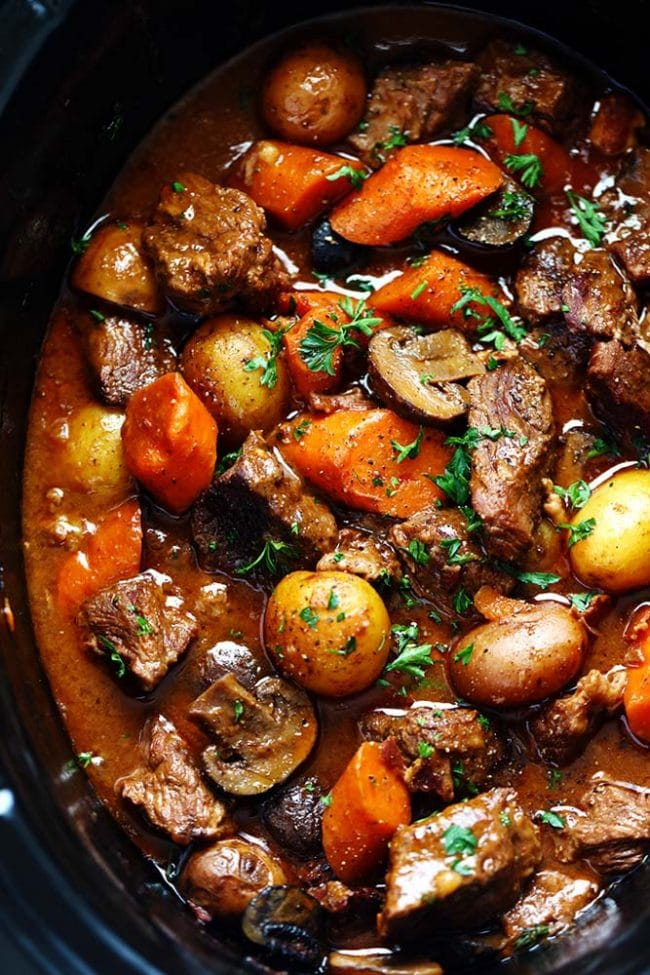 Slow Cooker Beef Bourguignon from therecipecritic.com on foodiecrush.com