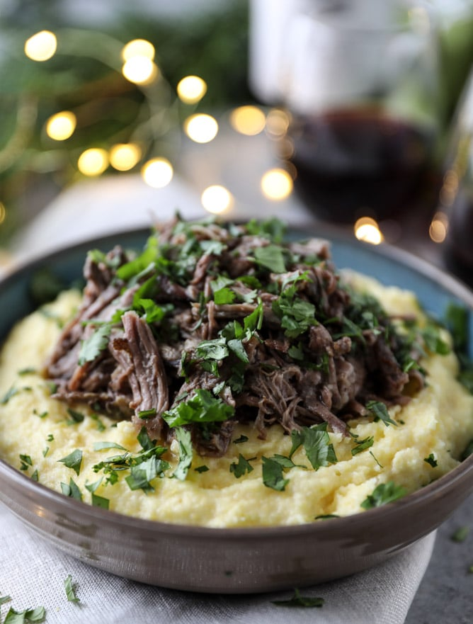 Slow Cooker Cabernet Beef Short Ribs with Mascarpone Polenta from howsweeteats.com on foodiecrush.com