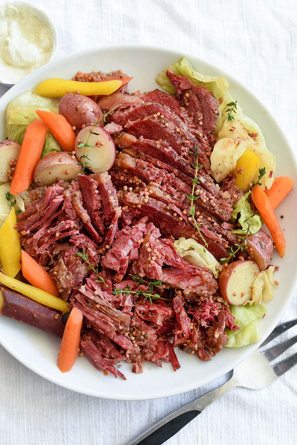 Slow Cooker Corned Beef and Cabbage from foodiecrush.com on foodiecrush.com