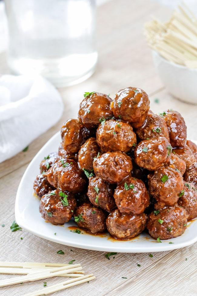 Slow Cooker Honey Buffalo Meatballs from carlsbadcravings.com on foodiecrush.com