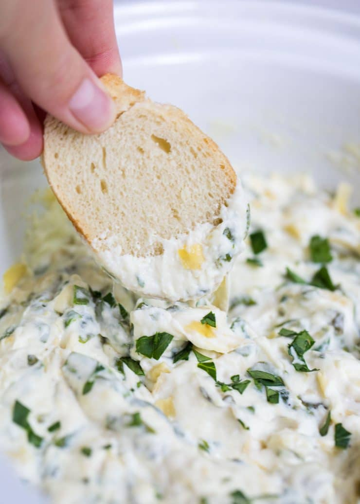 Slow Cooker Spinach Artichoke Dip from iheartnaptime.net on foodiecrush.com