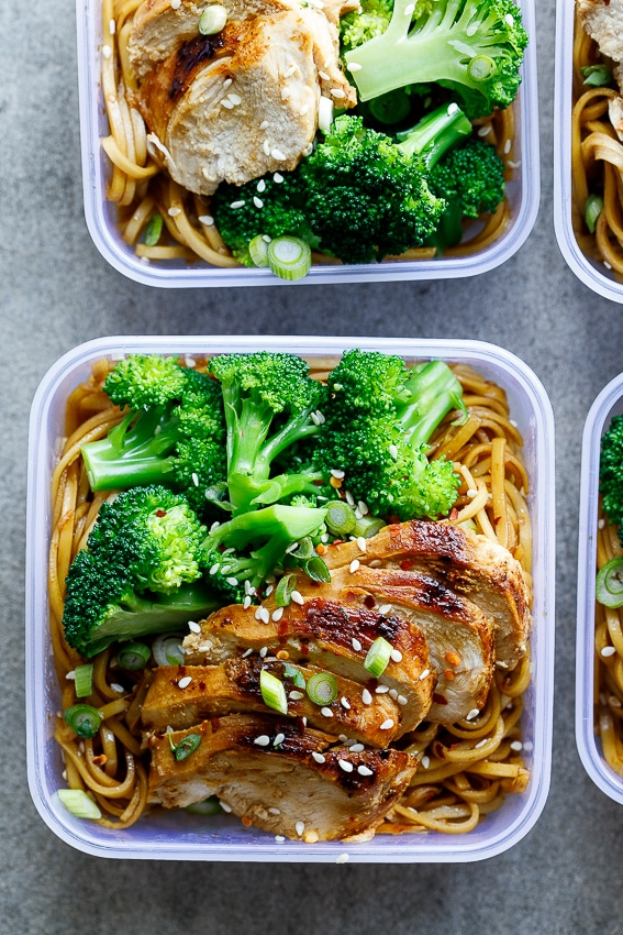 Soy Honey Noodle Salad with Chicken and Broccoli from simply-delicious-food.com on foodiecrush.com