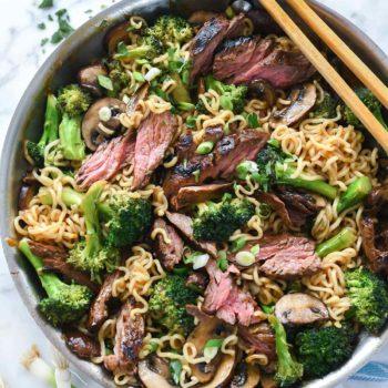 Asian Marinated Steak with Ramen Noodles | foodiecrush.com #steak #asian #marinade #ramen #noodles #stirfry