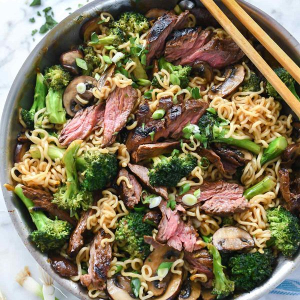 Asian Marinated Steak with Ramen Noodles | foodiecrush.com #steak #asian #marinade #ramen #noodles #stirfry