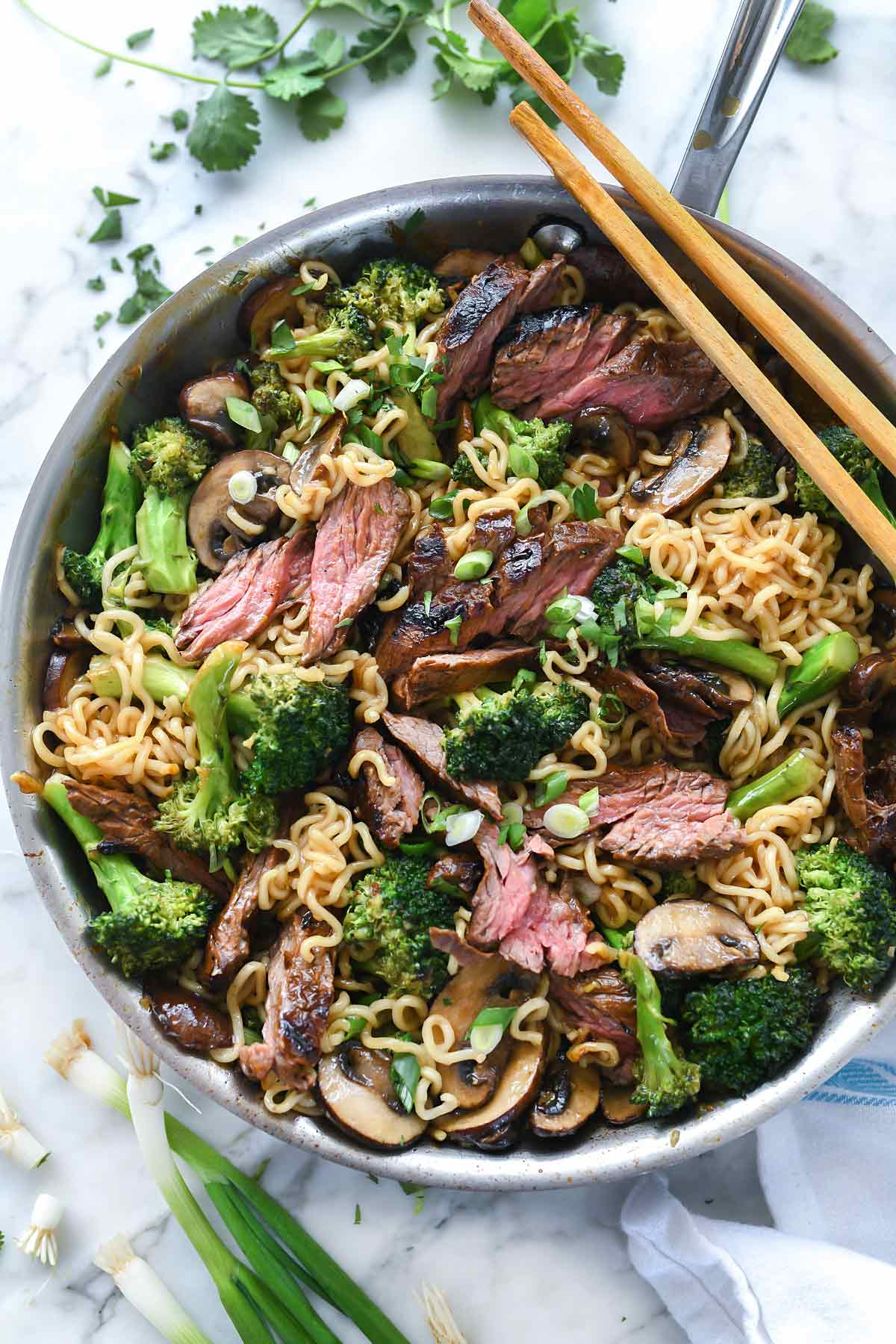Ramen Noodles With Marinated Steak And Broccoli