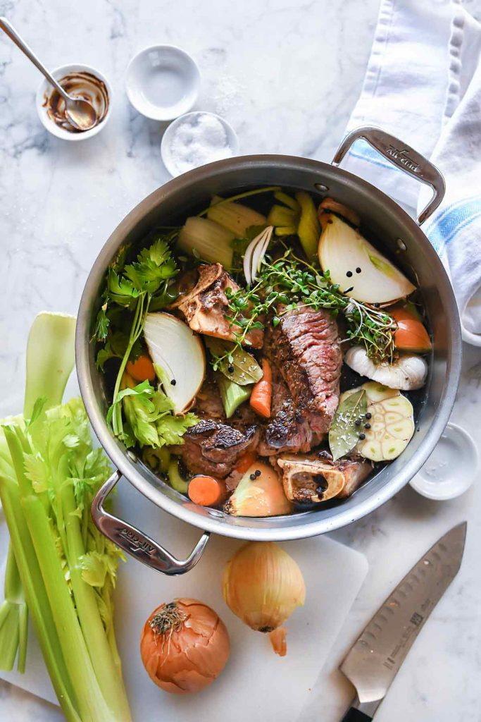 Easy Homemade Beef Broth Stock | foodiecrush.com #beef #stock #broth #soup #recipes
