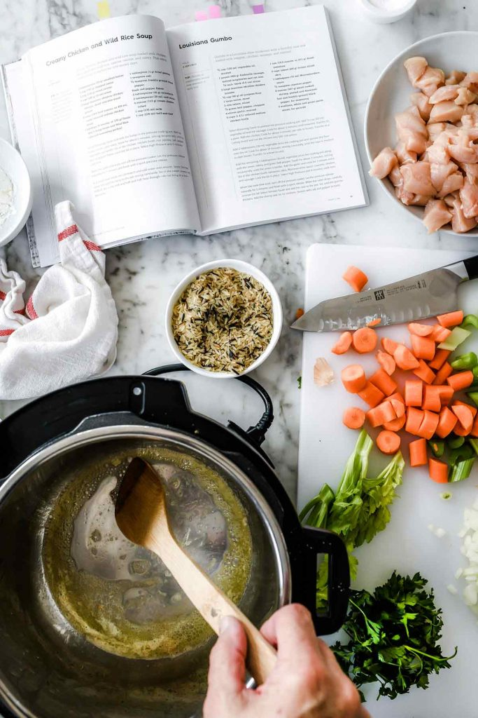 making instant pot chicken and wild rice soup