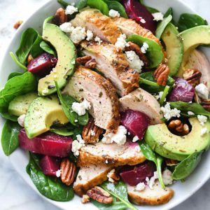 Roasted Beet, Avocado and Goat Cheese Spinach Salad with Chicken | foodiecrush.com #spinach #salad #beets #chicken #avocado