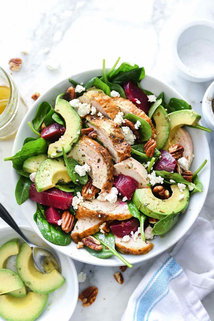 Roasted Beet and Avocado Spinach Salad with Chicken | foodiecrush.com #spinach #salad #beets #chicken #avocado