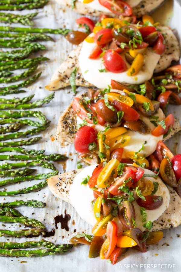 Bruschetta Chicken Sheet Pan Dinner from aspicyperspective.com on foodiecrush.com