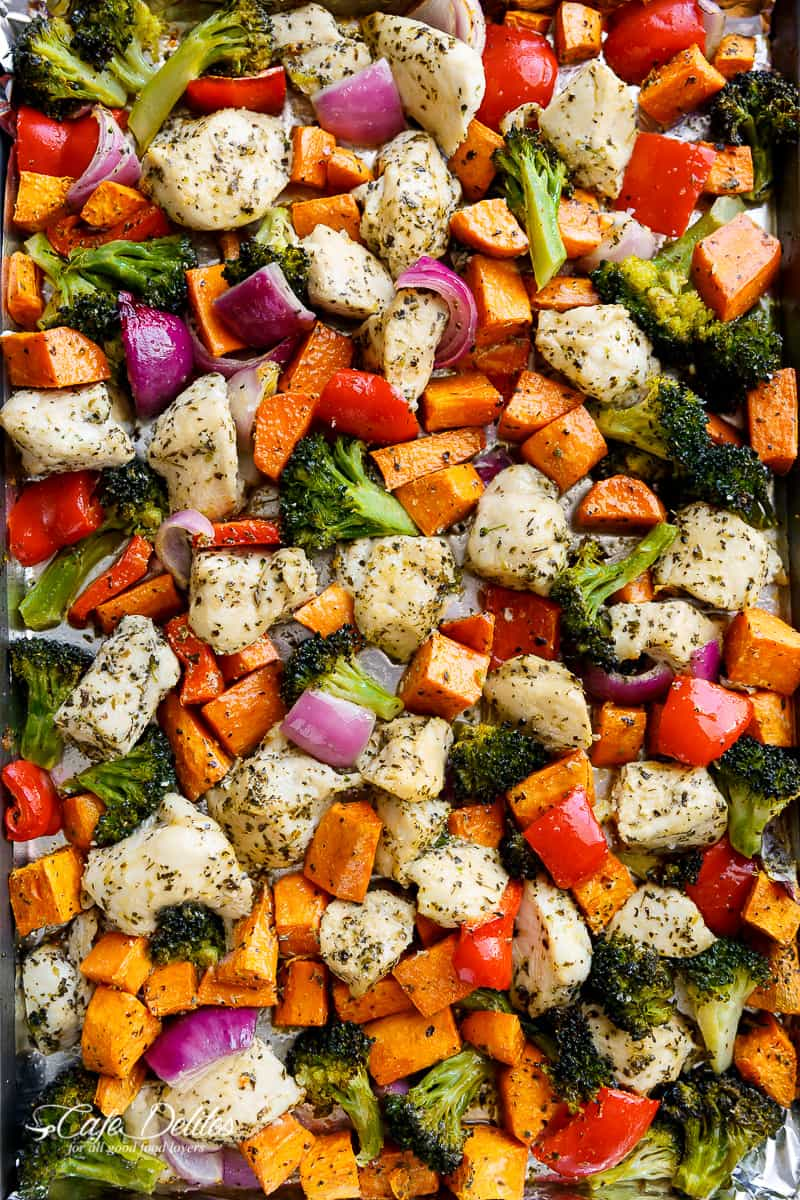 Garlic Herb Chicken & Sweet Potato Sheet Pan Meal Prep from cafedelites.com on foodiecrush.com