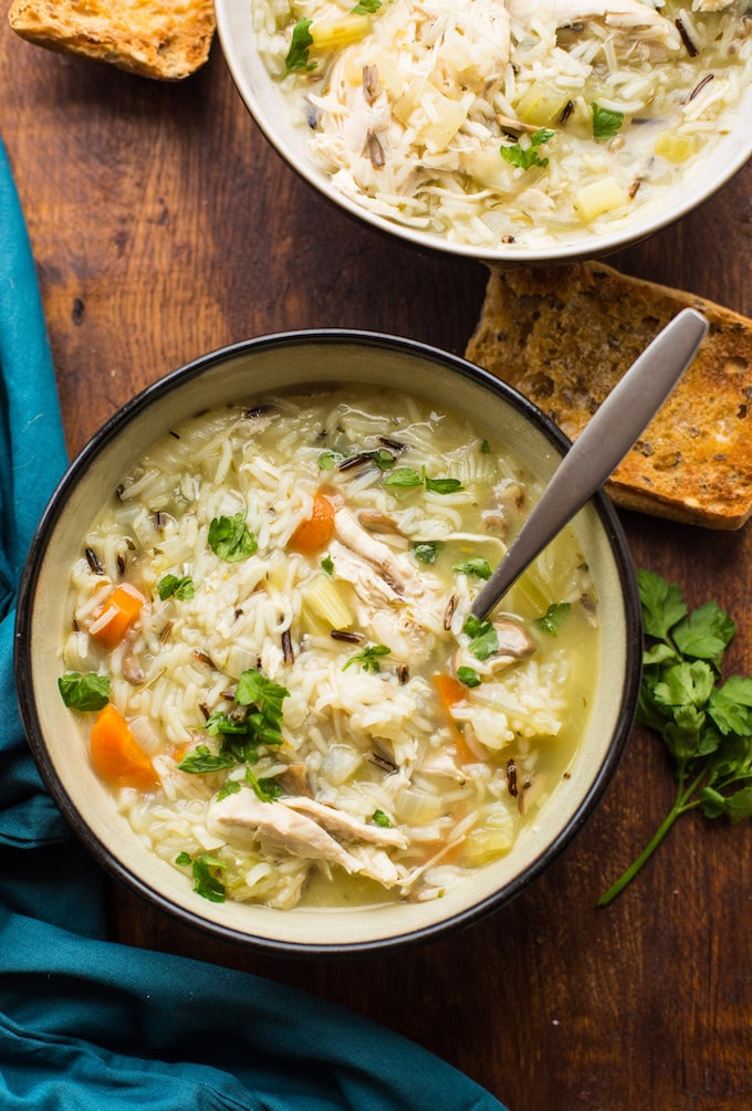 Instant Pot Chicken and Wild Rice Soup from asaucykitchen.com on foodiecrush.com
