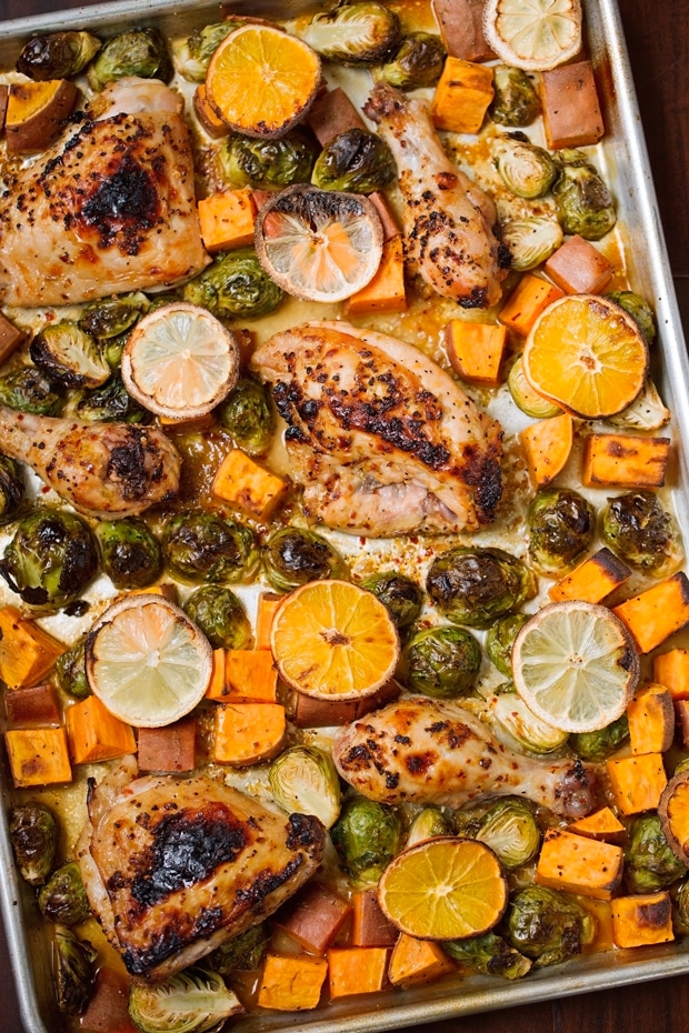 One Sheet Pan Garlic and Citrus Chicken with Brussels Sprouts and Sweet Potatoes from littlespicejar.com on foodiecrush.com