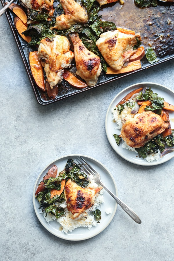 Red Curry Sheet Pan Chicken with Sweet Potatoes and Crispy Kale from feedmephoebe.com on foodiecrush.com