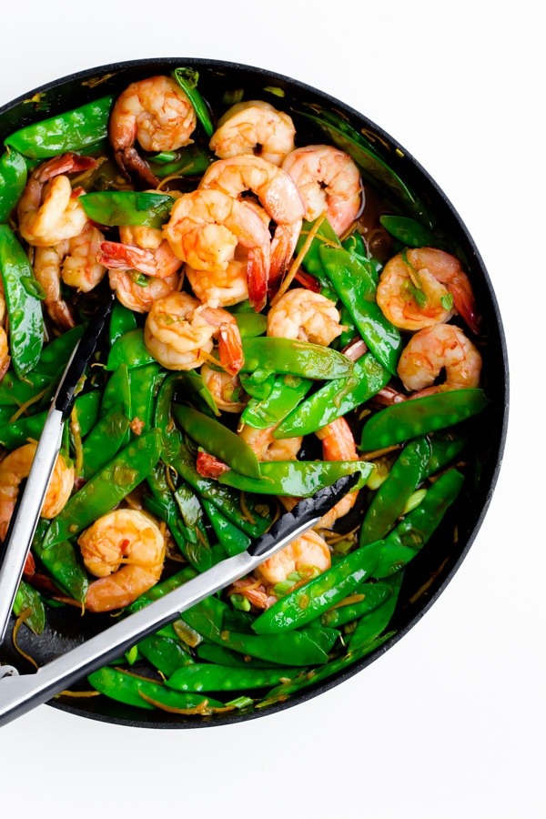 15-Minute Shrimp, Snow Pea, and Ginger Stir Fry from abeautifulplate.com on foodiecrush.com