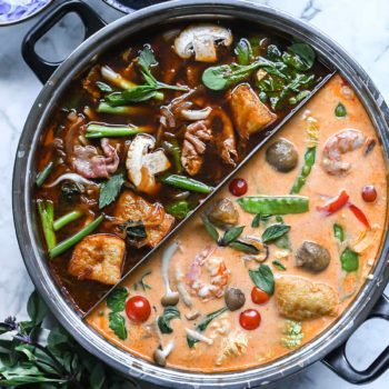 Easy Asian Hot Pot Recipe | foodiecrush.com #hotpot #soup #asian #dinner #instantpot #ramen #noodles