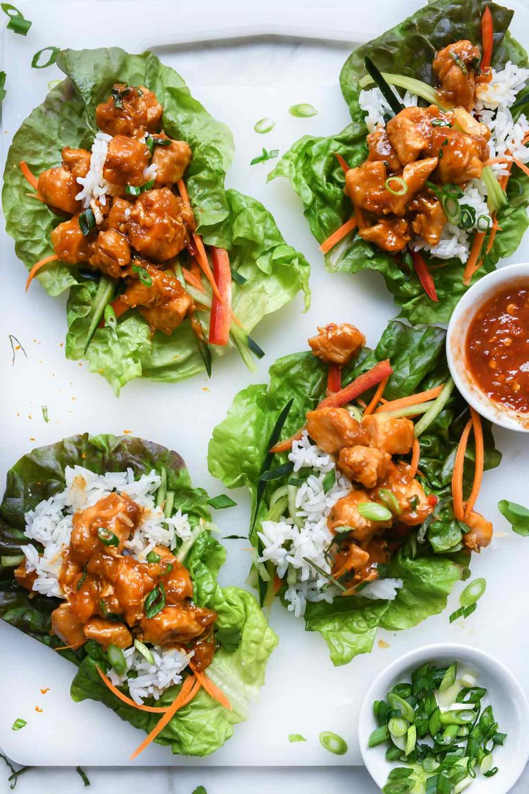 Instant Pot Orange Chicken Lettuce Wraps on foodiecrush.com