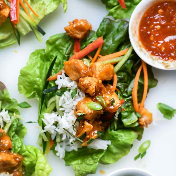 Instant Pot Orange Chicken Lettuce Wraps | foodiecrush.com #instantpot #chicken #asian #lettuceswrap #healthy #recipes