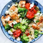 Mediterranean Chicken Quinoa Bowls with Broccoli and Tomato | foodiecrush.com #quinoa #bowl #mediterranean #chicken