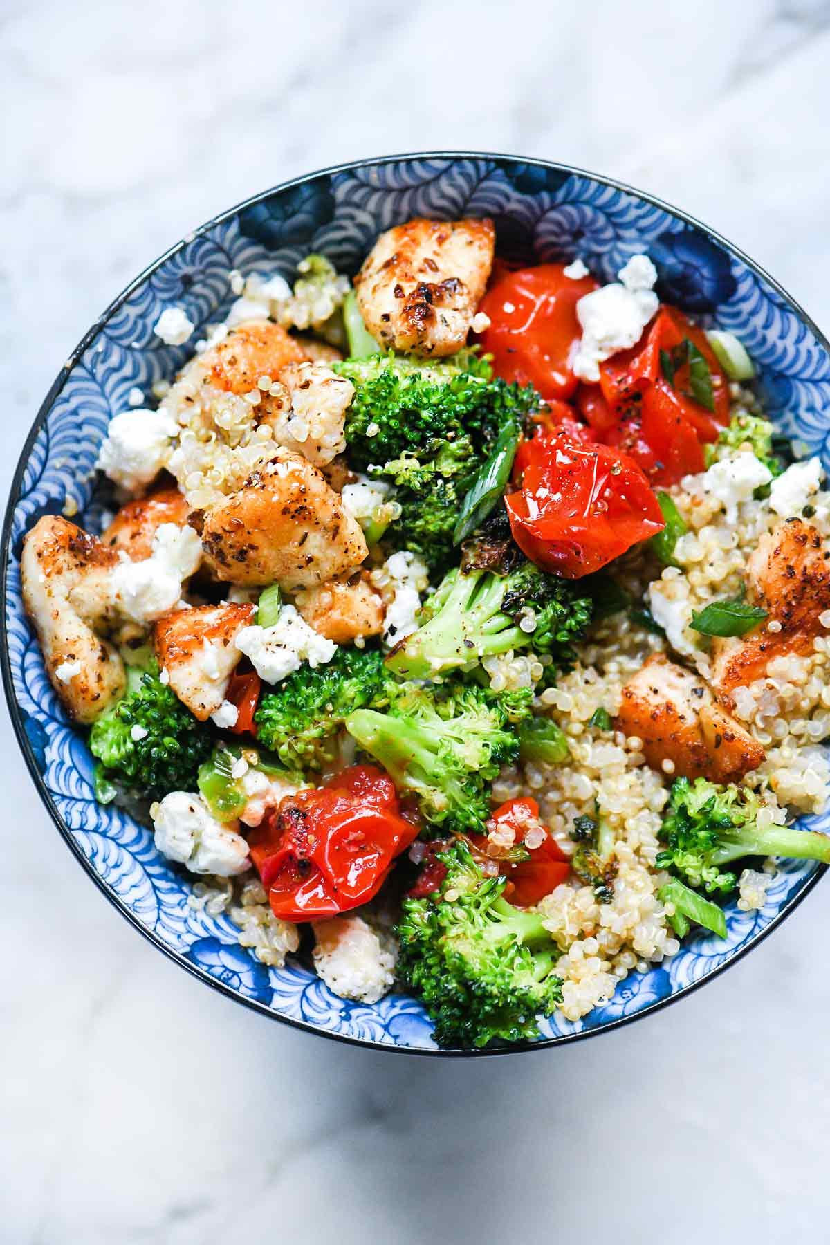 Mediterranean Chicken Quinoa Bowl with Broccoli and Tomato
