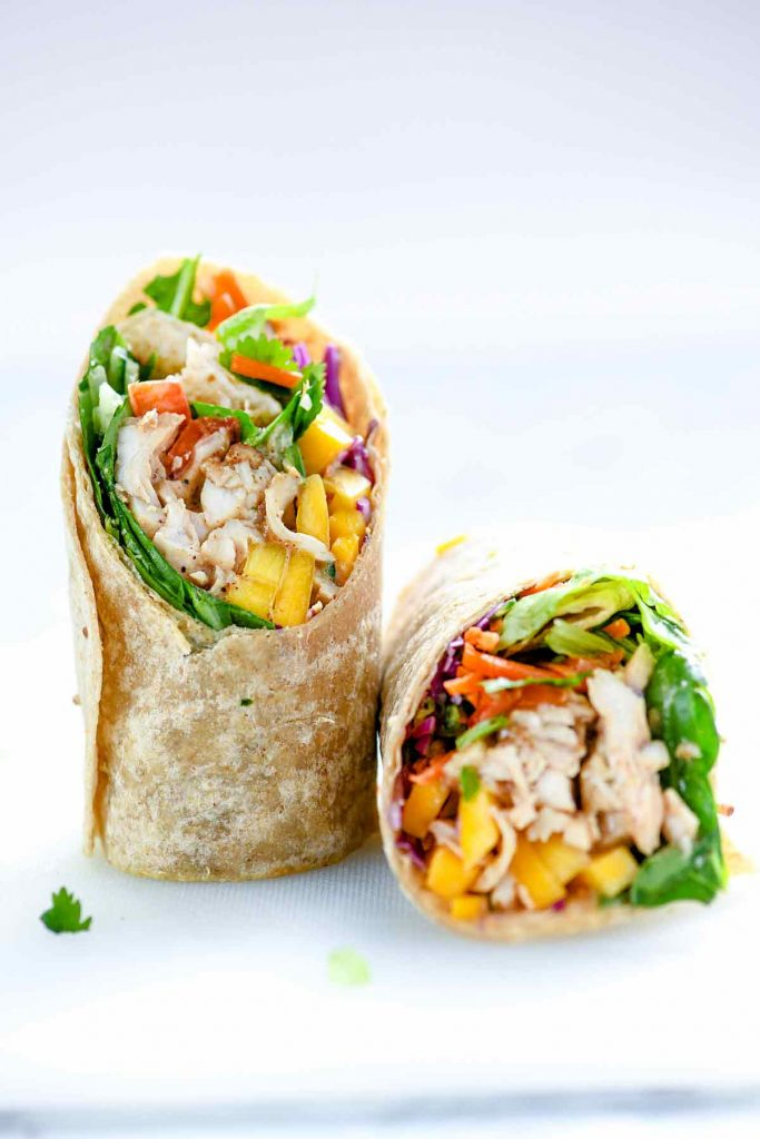 Chicken and Mango Rainbow Veggie Wraps | foodiecrush.com #lunch #wrap #easy #recipes