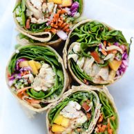 Chicken and Mango Rainbow Veggie Wraps | foodiecrush.com #lunch #wrap #easy #recipes