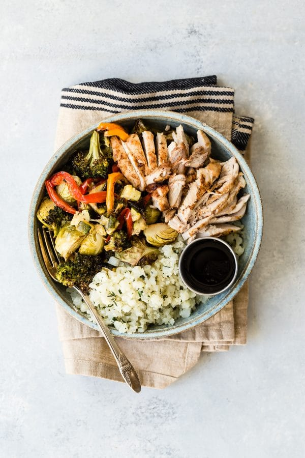 Chicken Bowl with Roasted Vegetables and Cauliflower Rice from foodnessgracious.com on foodiecrush.com
