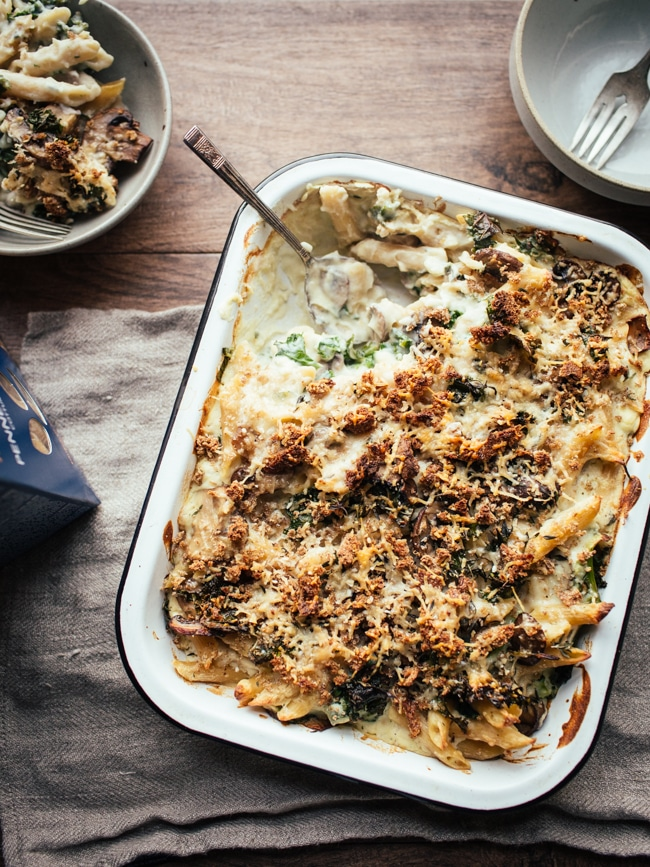 Creamy Cauliflower, Mushroom & Kale Pasta Bake from topwithcinnamon.com on foodiecrush.com