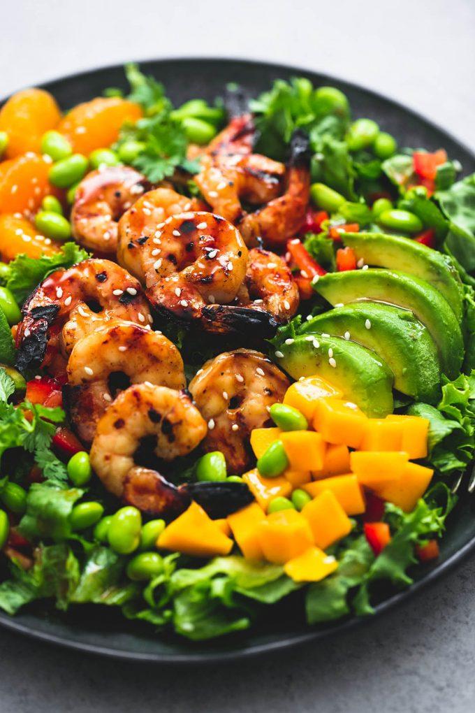 Mango Mandarin Sesame Shrimp Salad from lecremedelacrumb.com on foodiecrush.com