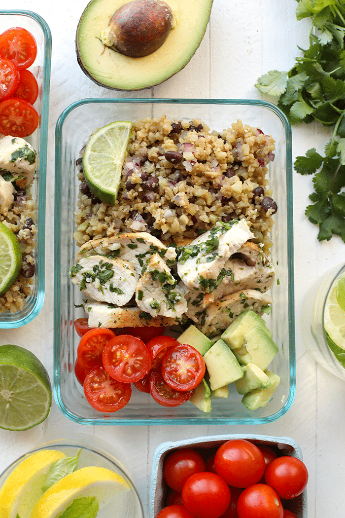Meal-Prep Cilantro Lime Chicken with Cauliflower Rice from fitfoodiefinds.com on foodiecrush.com
