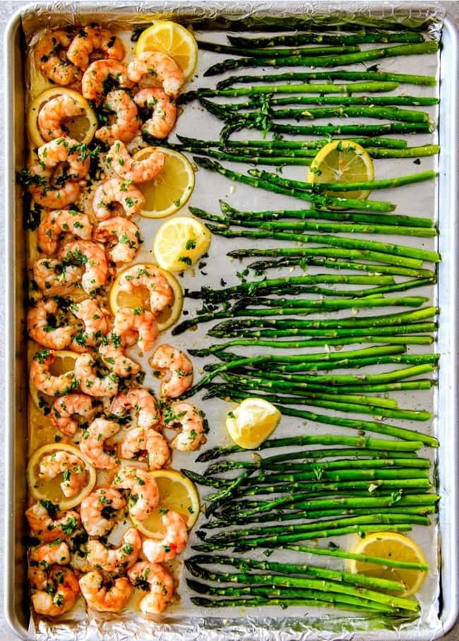 One Pan Lemon Butter Garlic Shrimp and Asparagus from carlsbadcravings.com on foodiecrush.com