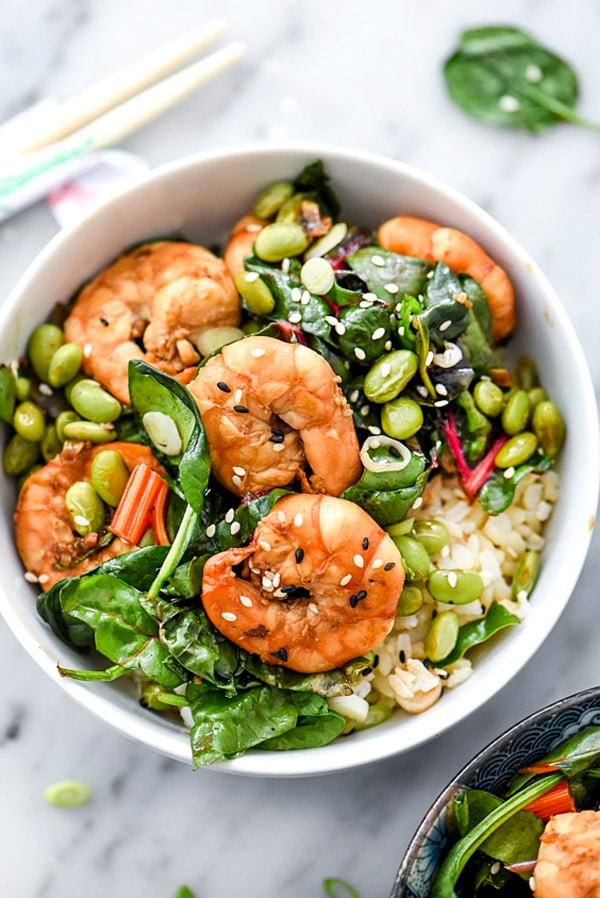 Sesame Shrimp with Asian Greens Rice Bowl from foodiecrush.com on foodiecrush.com