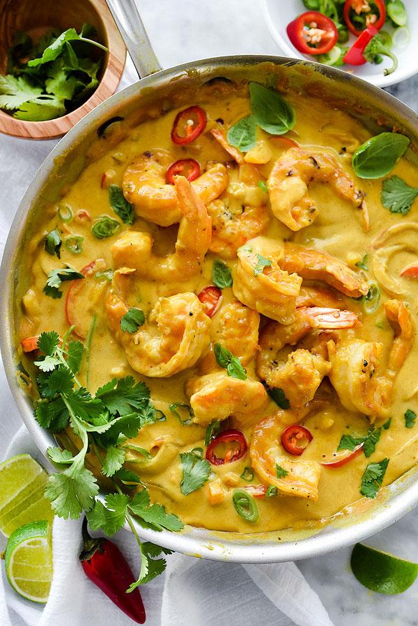 Shrimp in Thai Coconut Sauce from foodiecrush.com on foodiecrush.com
