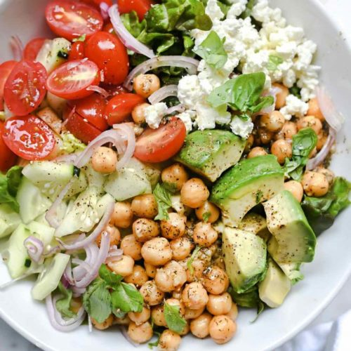 Crunchy Green Salad With Dilly Chickpeas And Avocado Foodiecrush Com