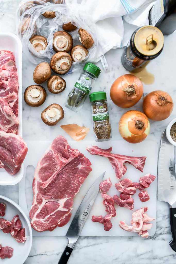 Ingredients for Pork Stew with Irish Stout and Caraway | foodiecrush.com #stew #pork #dinner #recipes #Irish #stpatricks #food
