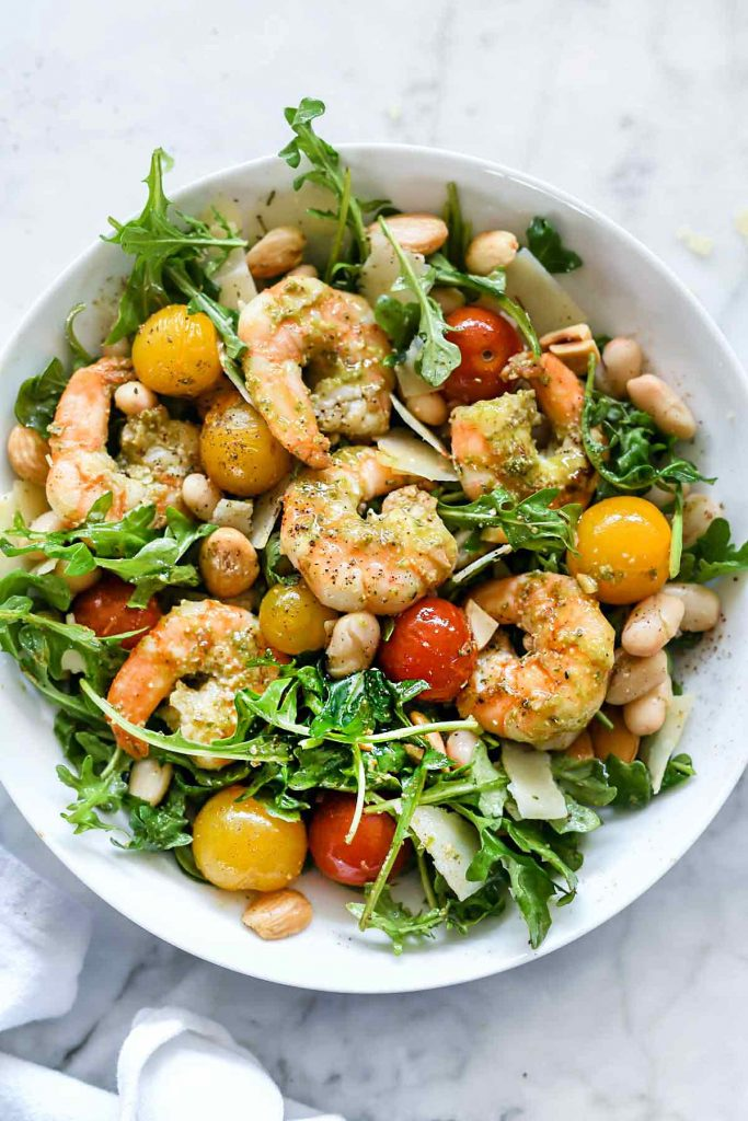 Arugula Salad With Pesto Shrimp Parmesan And Beans Foodiecrush Com