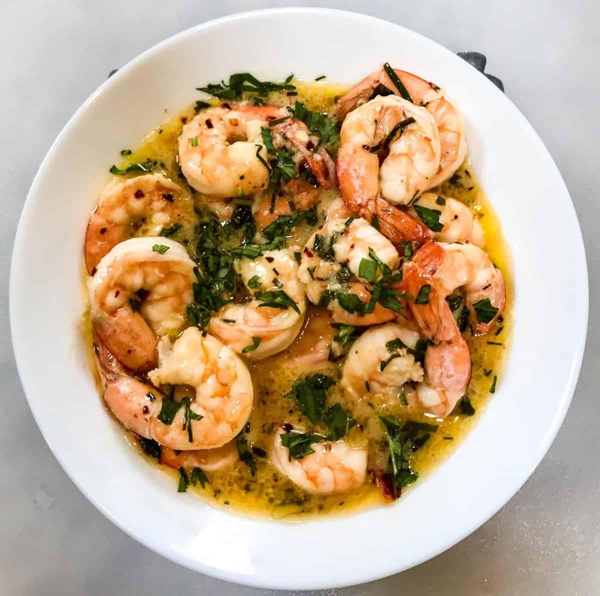 Keto Air Fryer Shrimp Scampi from twosleevers.com on foodiecrush.com
