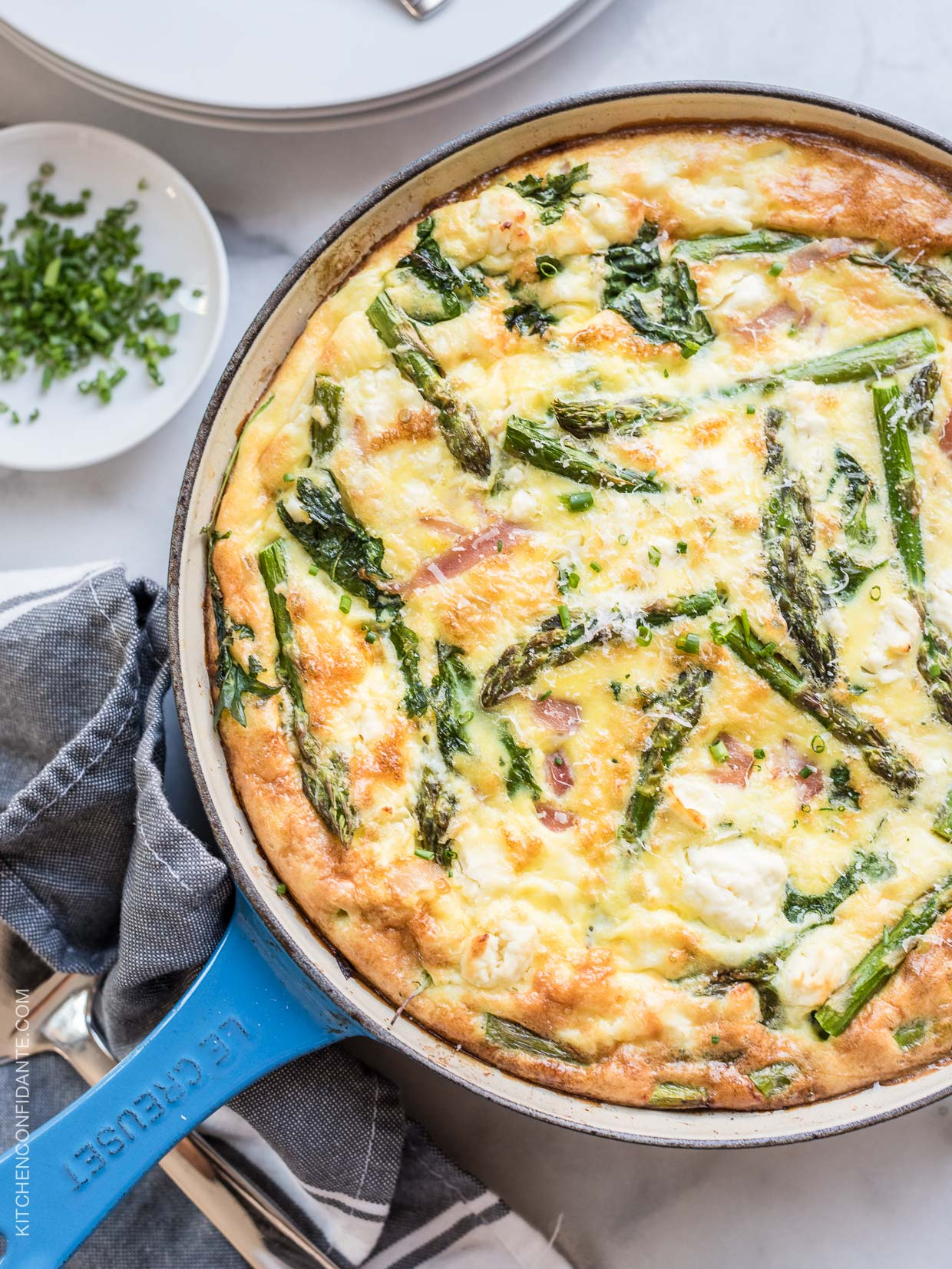 Asparagus, Ham and Kale Frittata from kitchenconfidante.com on foodiecrush.com