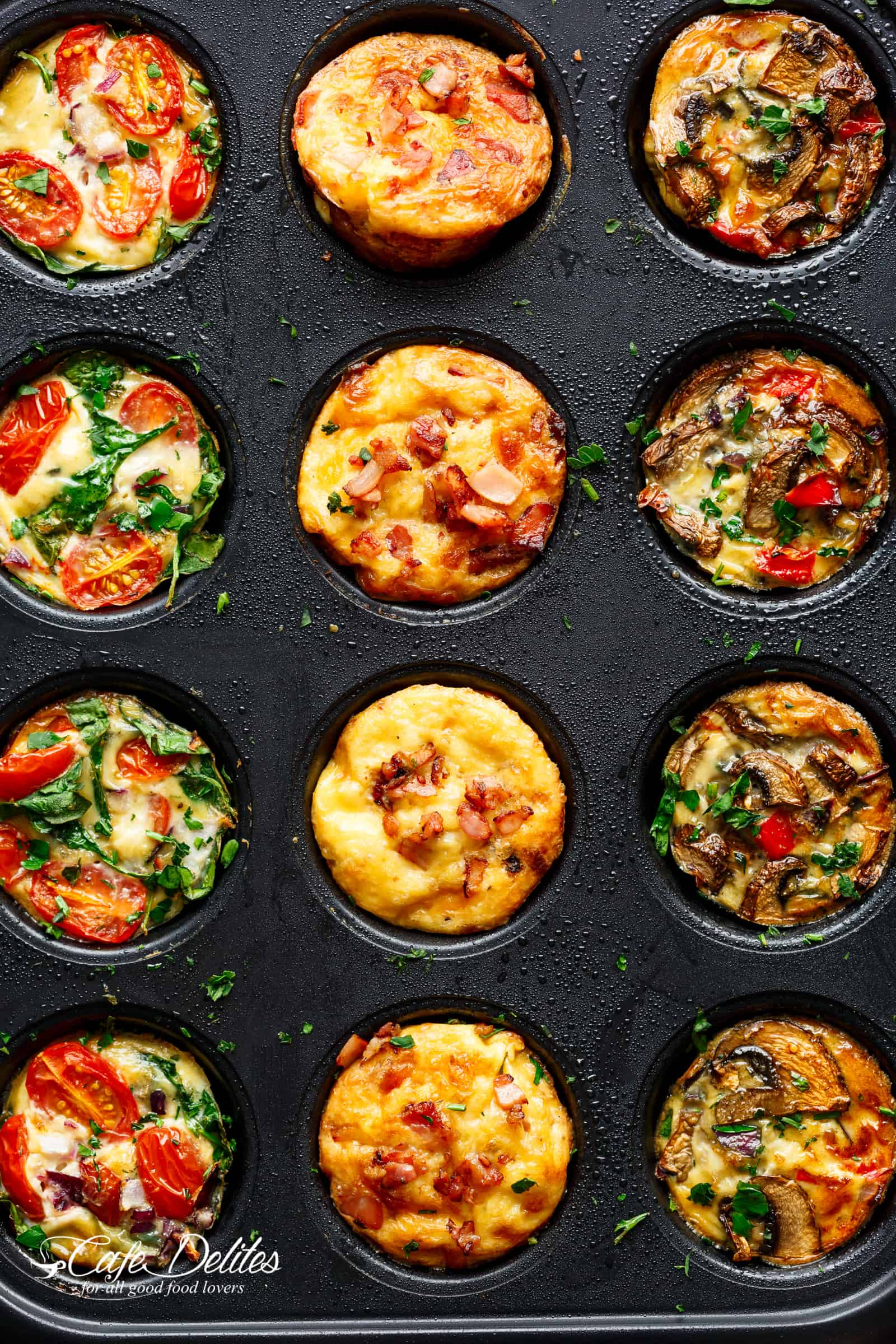 Breakfast Egg Muffins 3 Ways (Meal Prep) from cafedelites.com on foodiecrush.com